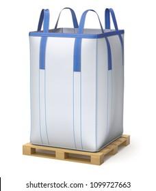 Big bulk bag on wooden pallet - 3D illustration