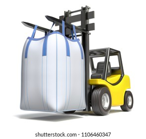 Big bulk bag on yellow forklift - 3D illustration