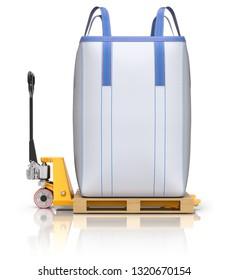 Big bulk bag and pallet jack on white reflective background - 3D illustration