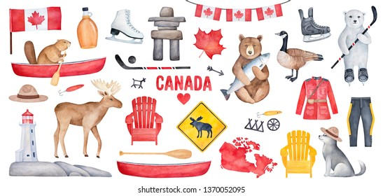 Big Canada Set with various symbols like national flag, maple syrup bottle, lighthouse, hockey skates. Handdrawn watercolour paint on white background, cutout clipart for creative design decoration.
