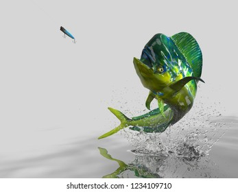 Big catch of Mahi mahi dolphinfish in white background with splashes hooked by popper bait 3d render