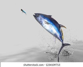 Big catch of  yellow fin  tuna fish  in white background with splashes hooked by popper bait 3d render