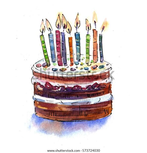 Enjoyable Big Chocolate Birthday Cake Candles Birthday Stock Illustration Personalised Birthday Cards Veneteletsinfo