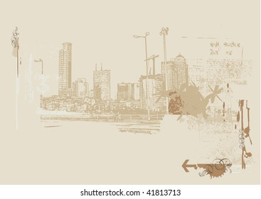 Big City  -  Grunge styled urban background.