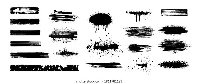 Big Collection of black paint, ink brush strokes, brushes, lines. Dirty artistic design elements. High quality manually traced. Black inked splatter dirt stain splatter spray splash with drops blots.