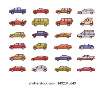 Big collection of cars of various body configuration styles - cabriolet, sedan, pickup, hatchback. Set of modern automobiles of different types. Colorful  illustration in line art style.