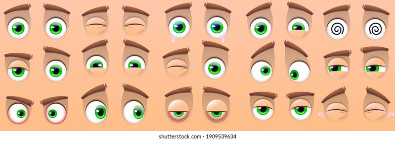 Big collection of cartoon eyes isolated on beige background. Expressions with different emotions, crying eyes, laughing, angry and cute winking eyes