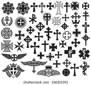 big collection of vector crosses