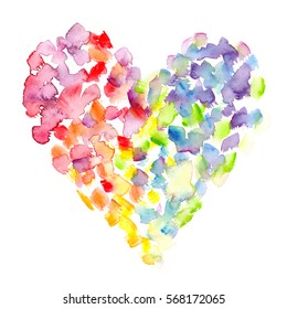 Big colorful heart with rainbow dots and brush strokes painted in watercolor on clean white background