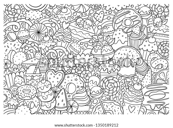 Big Coloring Poster Sweet Candy Shop Stock Illustration 1350189212