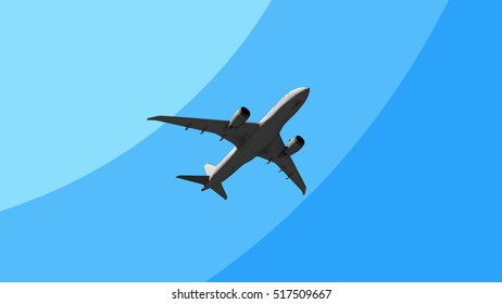 Big commercial plane flying across the sky cartoon 3D rendering
