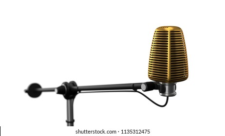 big condenser microphone. suitable for music, radio, and recording themes. 3d illustration, isolated on white.