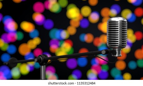 big condenser microphone. suitable for music, radio, and recording themes. 3d illustration, with bokeh background.