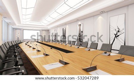 Big Conference Room Table Chairs Business Stock Illustration - Big conference table