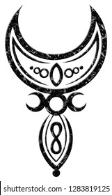 Big Crescent Moon with Triple Moon, Infinity Loop and Little Goddess. Pagan and Wicca.