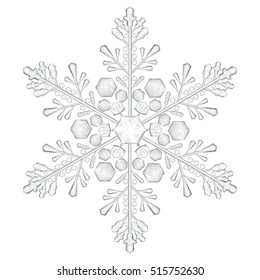 Big crystal snowflake in gray colors on white background