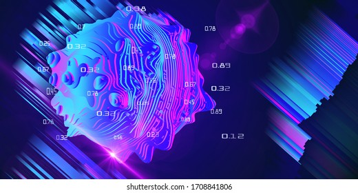 Big data. Abstract concept of layered analysis of a spherical data.  Noise sphere cut on color layers with blurred lines and lens effects. Banner for business and science design.
