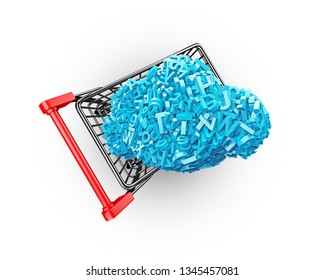 Big data and cloud computing concept. Shopping cart with cloud of blue letters and numbers, isolated on white background, top view. 3D illustration.