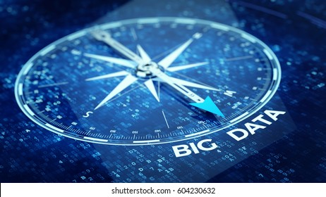 Big data concept - Compass needle pointing big data word. 3d rendering