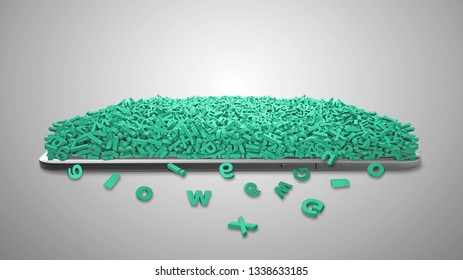 Big data concept. digital tablet full with huge amount of green letters and numbers covered, isolated on gray background. 3D illustration.