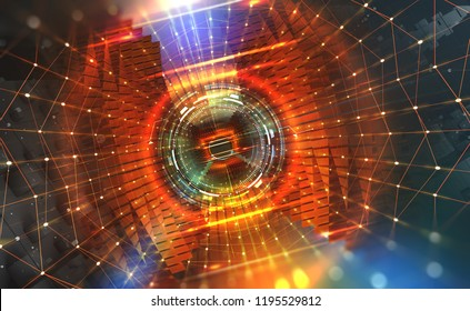 Big Data concept. Flow of digital data in  global network. Quantum computer. Speed portal. Hadron Collider, abstract 3d illustration