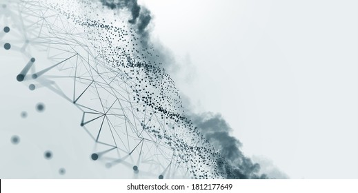 Big data, cryptography programming 3D illustration. Neural network, cloud technologies. Global database, artificial intelligence. Bright, black and white background with bokeh effect