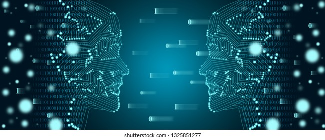 Big data and machine learning concept. Two male faces outline with binary data flow on a background
