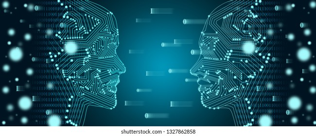 Big data and machine learning concept. Two faces outline with binary data flow on a background