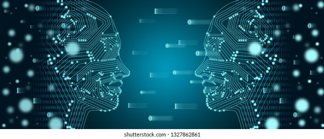 Big data and machine learning concept. Two female faces outline with binary data flow on a background