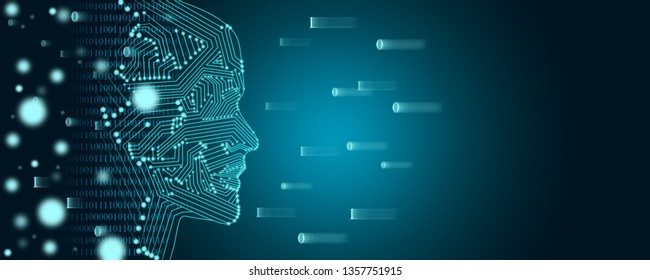 Big data and machine learning concept. A female face outline with binary data flow on a background