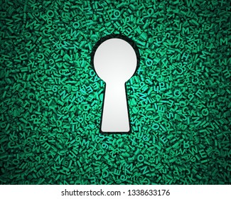 Big data privacy and security information technology concept. Blank white keyhole on huge amount of green letters and numbers background. 3D illustration.