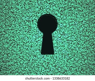 Big data privacy and security information technology concept. Blank black keyhole on huge amount of green letters and numbers background. 3D illustration.