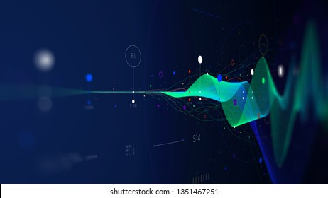 Big data stream futuristic infographic business analytics presentation, monitor screen in perspective for presentations