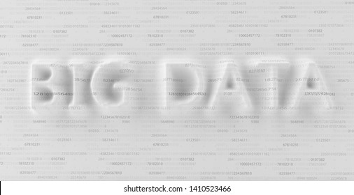Big Data text notched in the code. 3d illustration.