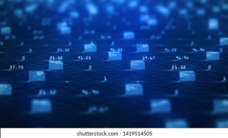 Big data visualization concept. Machine learning algorithms. Analysis of information. Technology data and binary code network conveying connectivity, complexity and data flood of modern digital age.