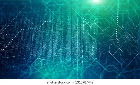 Big data visualization. Cyber technology code binary abstract 3D illustration.
