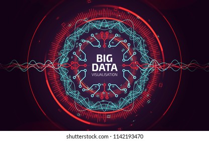 Big data visualization. Fractal elements with sound lines and dots array. Big data connection complex. Data array concept. Geometric abstract background.