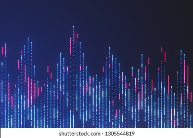 Big data visualization. Sci fi element. Neon glowing lines. Abstract background. Blue and red vibrant colors.