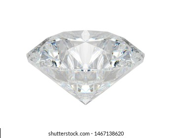 Big diamond crystal front view isolated on white background. 3D Rendering, Illustration.
