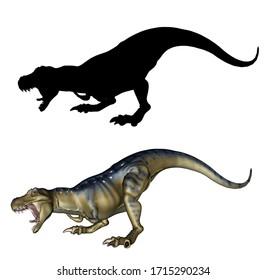 Big dinosaur Tyrannosaurus Rex with black silhouette, 3d rendered illustration.