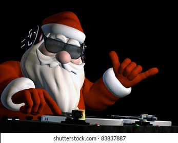 Big DJ SC is in Da House and mixing up some Christmas cheer.  Turntables with vinyl albums. Isolated on a black background.