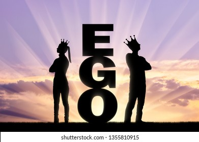 A big ego word between an arrogant man and a woman with a crown on her head, they stand with their backs to each other. Concept of selfishness and arrogance in relationships