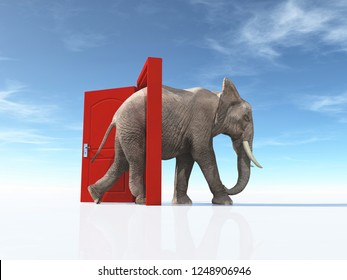 The big elephant enters opened door . The concept of opportunities. This is a 3d render illustration