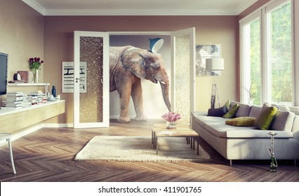 Big elephant, walking in the apartment rooms. 3d illustration concept