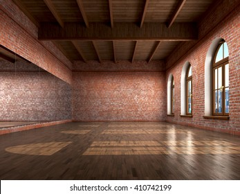 Big empty room in grange style with wooden floor, bricks wall, big windows and mirrow. Dance studio. 3d illustration