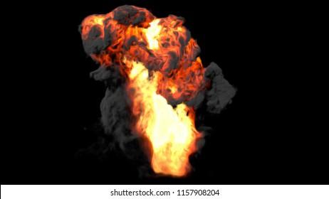 Big explosion effect black background, Realistic explosions boom, Realistic fiery explosion over a black background