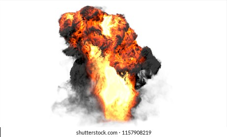 Big explosion effect white background, Realistic explosions boom, Realistic fiery explosion over a white background