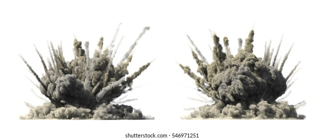 Big explosion on white 3d illustration