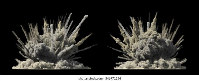 Big explosion on white 3d illustration