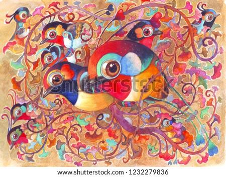 Big Family Birds Fantasy Jungle Hand Stock Illustration 1232279836